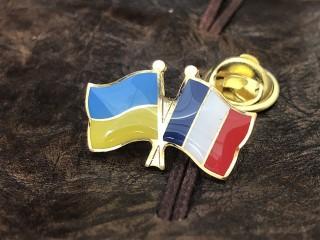 """значок """"флаг Украины и Франции"""""""